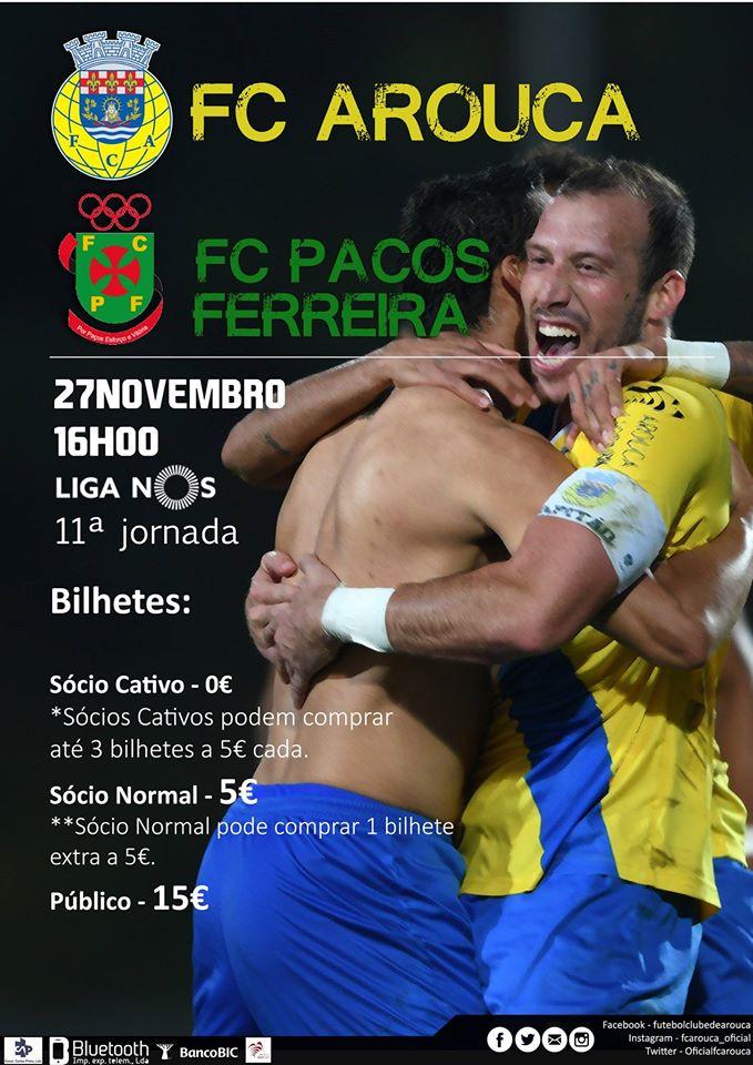 F.C. Arouca recebe o Paços de Ferreira na 11ª jornada