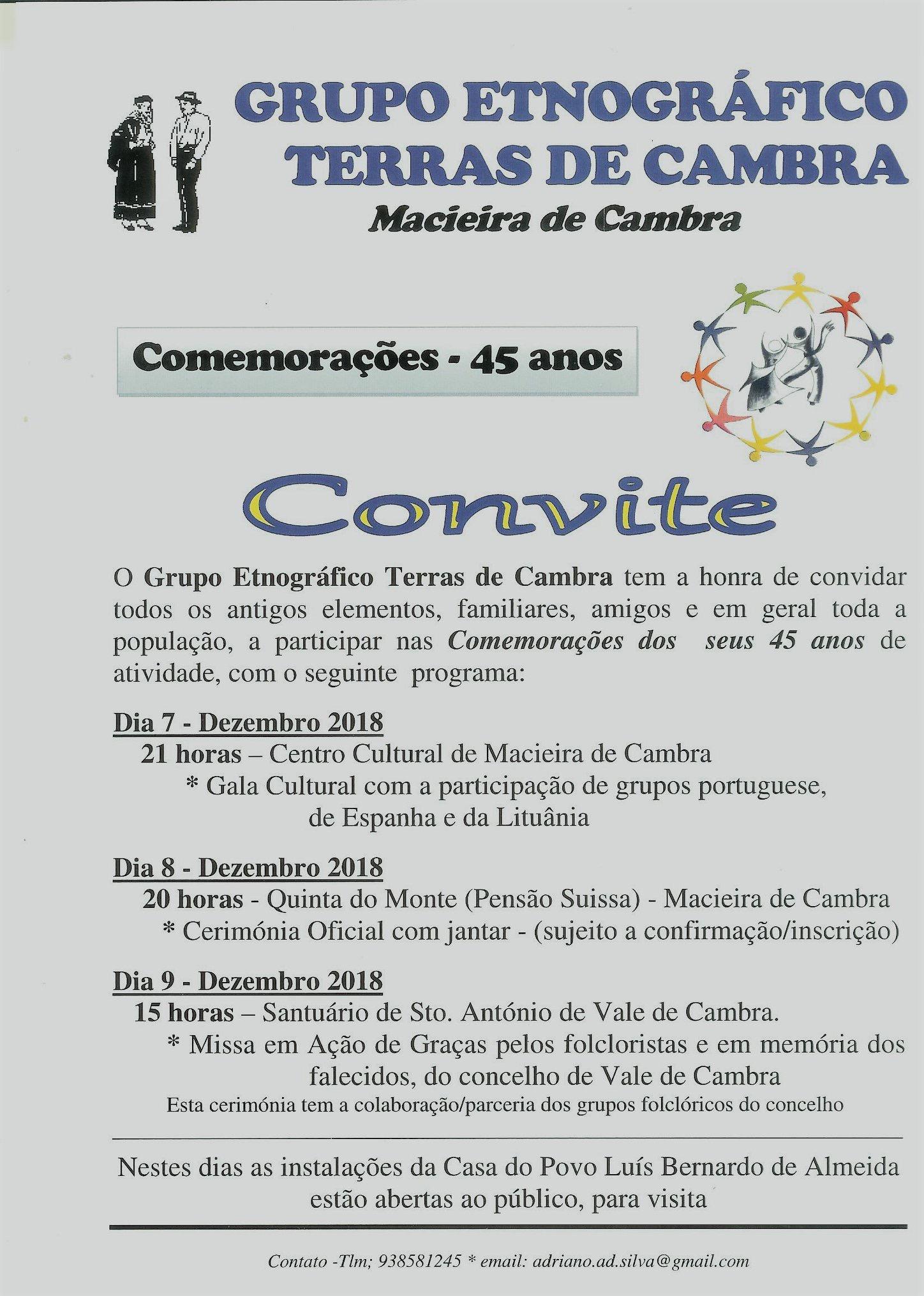 Grupo Etnográfico Terras de Cambra assinala aniversário