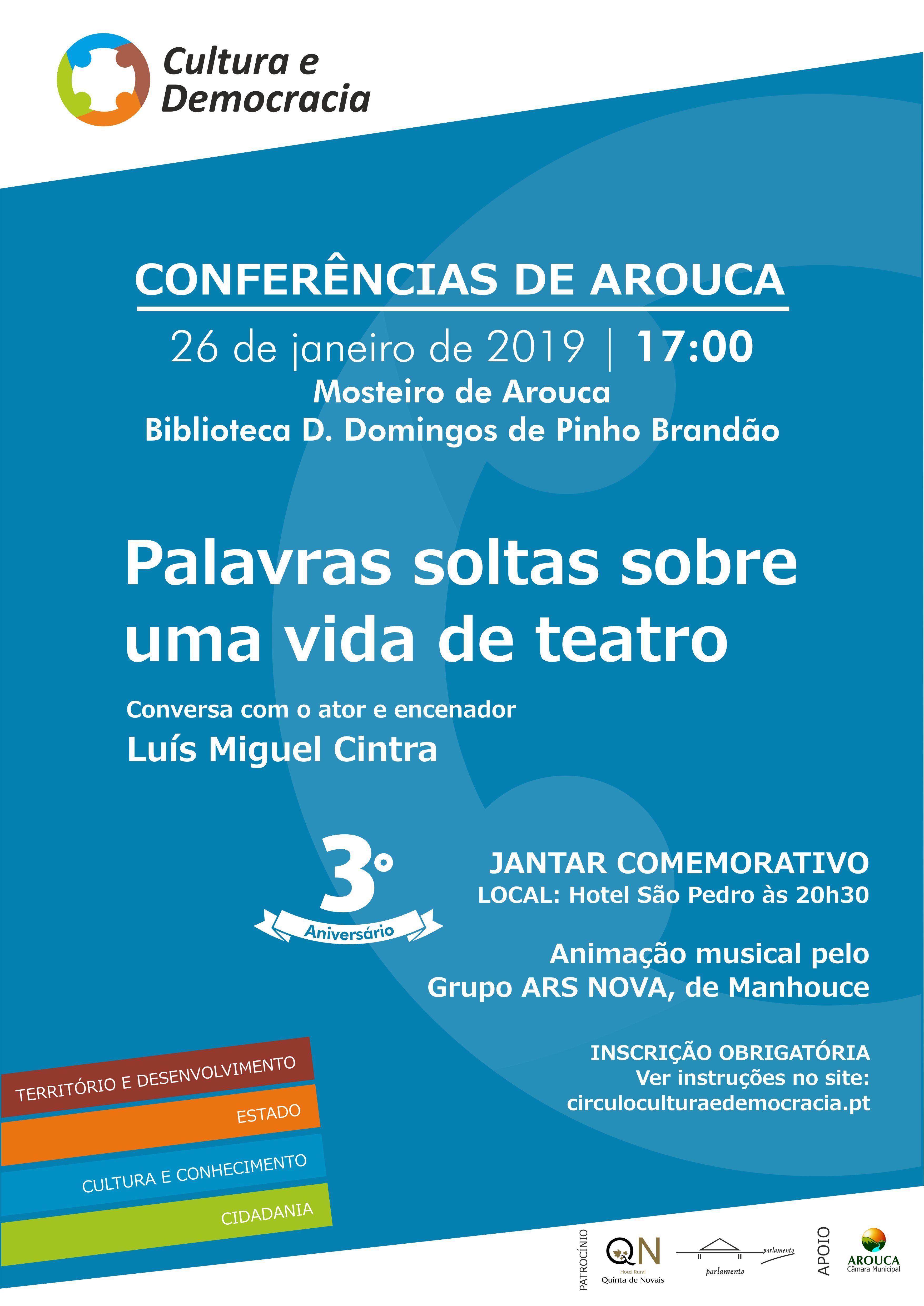 Círculo Cultura e Democracia assinala 3º aniversário com 'Conferência de Arouca'