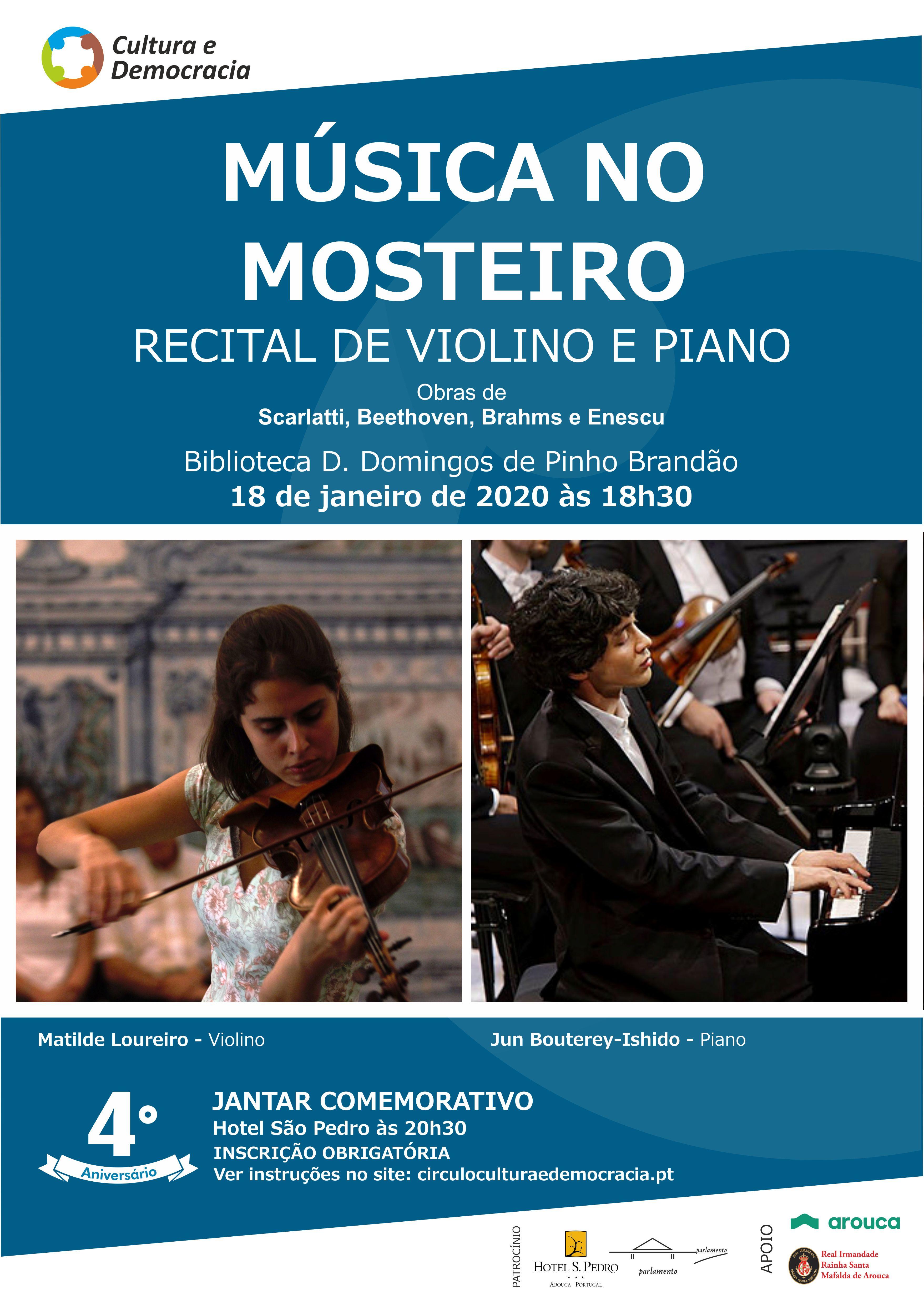 Recital de Violino e Piano celebra 4.º aniversário do Círculo Cultura e Democracia