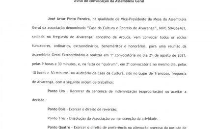 Convocatória Casa da Cultura e Recreio de Alvarenga